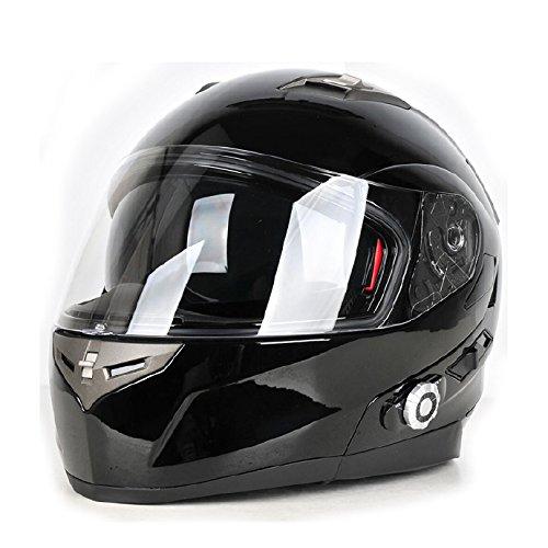 FreedConn Bluetooth Motorcycle Helmets Integrated Modular Flip up Dual Visors Full Face Built-in Bluetooth Intercom Communication SystemFM Radio Range 500M XLGloss Black