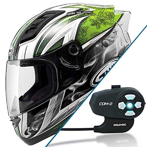 GMAX GM69 Crusader II Green Full Face Street Helmet w COM-2 Bluetooth Intercom - X-Large
