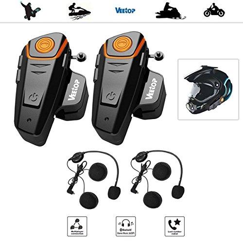 Veetop 2 x 800m Water Resistant Bluetooth Motorcycle Motorbike Helmet Intercom Interphone Headset for 2 or 3 riders and 25mm Audio for Walkie Talkie MP3 player GPS - Hands Free FM radio 2Pack
