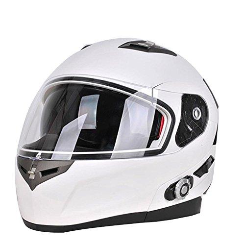 FreedConn Bluetooth Motorcycle Helmets Speakers Integrated Modular Flip up Dual Visors Full Face Built-in Bluetooth Mp3 Intercom headset Communication Range 500M MWhite