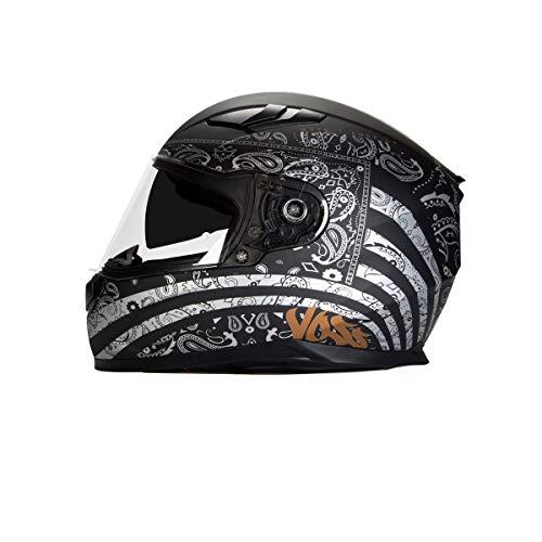 Voss 988 Moto-1 Full Face Helmet America Graphic Internal Eyeshade Quick Release DOTECE - X-Large - Flat Silver