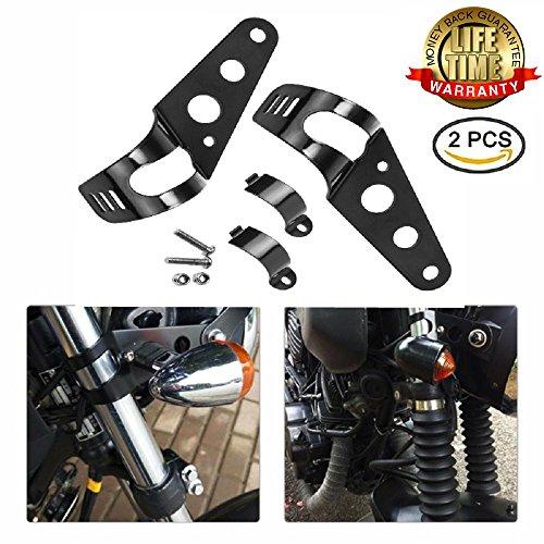 Motorcycle Headlight Side Mounting Brackets - 1 Pair Universal Motor 28-43mm Fork Tube Ears Chopper Cafe Racer Bracket Black