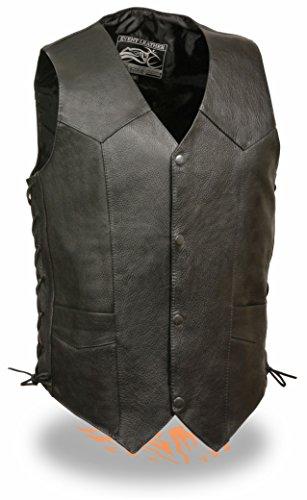 Mens Side Lace Black Cowhide Leather Vest 5XL