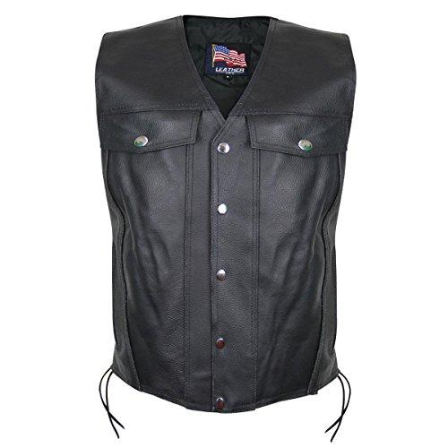 USA 1207 Leather Mens Undercover Gun Pocket Vest - Large