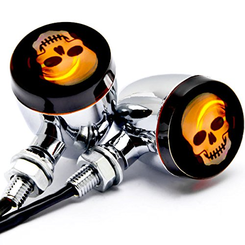 Krator 2pc Skull Lens Chrome Motorcycle Turn Signals Bulb For Suzuki Intruder Volusia VS 700 750 800 1400 1500
