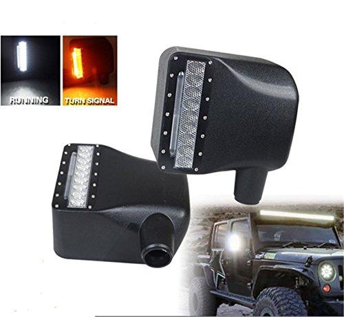 Lantsun Car White Sidelight Rearview LED Side Mirror Yellow Turn Signal Light Smoke Lens For Jeep Wrangler JK JKUPack of 2 2 Yr Warranty J112
