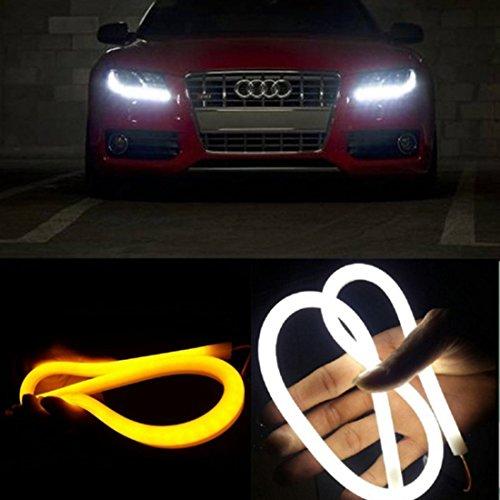 2 Pack EX1 Car LED Flexible Headlight DRL Daytime Running Light Turn Signal Light Tube Strip 30cm White  Amber