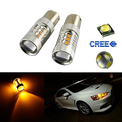 2x High Power Amber 1156 BA15S LED Bulbs 80W For Car DRL Daytime Running Light Turn Signal Light Backup Reverse Light