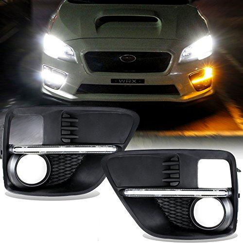 For 2015 Subaru WRX  STi LED DRL daytime running light turn signal light Switchback Running Strip Fog Light Bezels WhiteAmber