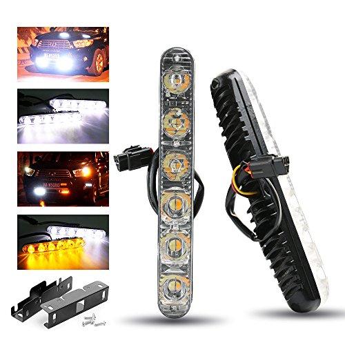 RCJ Car 6 LED High Power Daytime Running Light Turn Signal Light DRL Driving Fog lamp White AmberPack of 2 6 LED