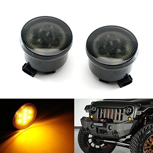 iJDMTOY 2 Smoked Lens Direct Fit LED Daytime Running LightsTurn Signal Lamps For 2007-2017 Jeep Wrangler JK