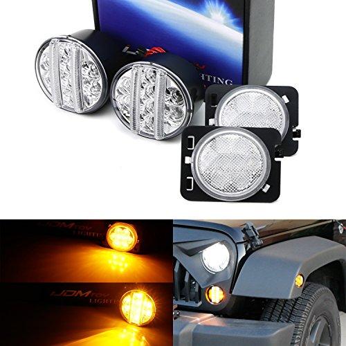 iJDMTOY Clear Lens LED Daytime Running LightsTurn Signal Lamps w Fender Flare LED Side Markers Combo Kit For 2007-2017 Jeep Wrangler JK