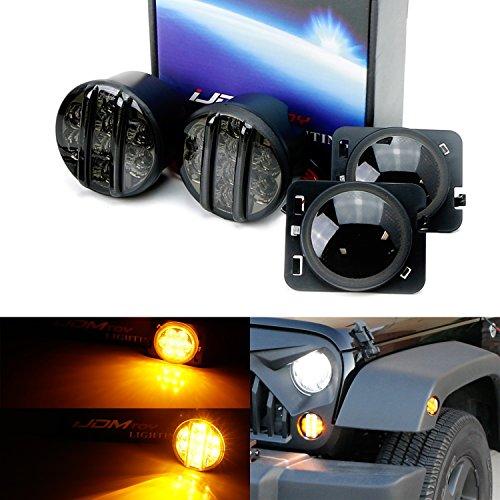 iJDMTOY Smoked Lens LED Daytime Running LightsTurn Signal Lamps w Fender Flare LED Side Markers Combo Kit For 2007-2017 Jeep Wrangler JK