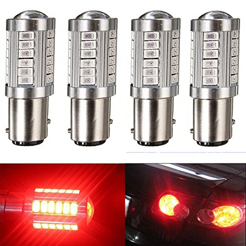 KATUR 4pcs 1157 BAY15D 5630 33-SMD Red 900 Lumens 8000K Super Bright LED Turn Tail Brake Stop Signal Light Lamp Bulb 12V 36W