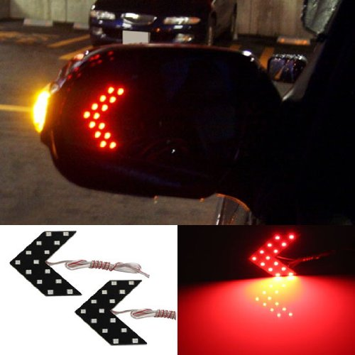iJDMTOY Universal Fit Ultra Slim 14-SMD Side Mirror LED Turn Signal Arrows Brilliant Red