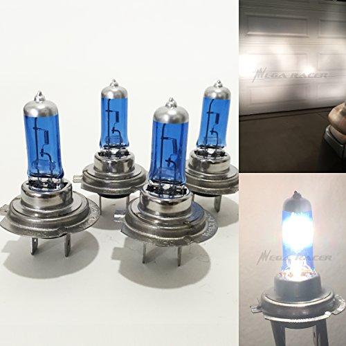 Mega Racer H7 Headlight Bulb H7 Halogen Headlight Bulb 12V 100W 5000K HiLo Super Ultra White 2 x High Beam Headlight Bulb 2 x Low Beam Headlight Bulb Xenon H7 Car Headlight Bulbs H7 Head Light Bulb