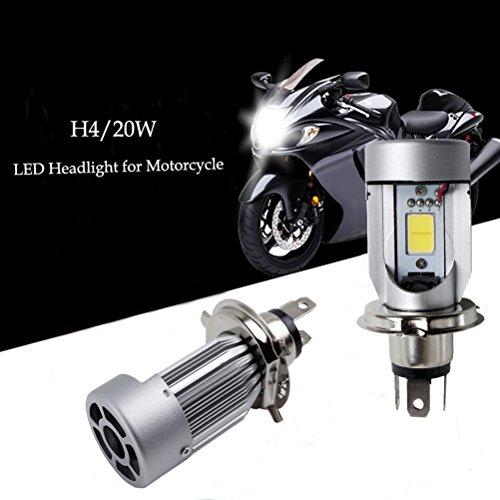 Ralbay H4 LED Motorcycle Headlight Bulb COB Motor Headlamp with Cooling Fan 20W 2000LM HL High Low Dual Beam 9V-30V Motorbike Lights Kit Pack of 1