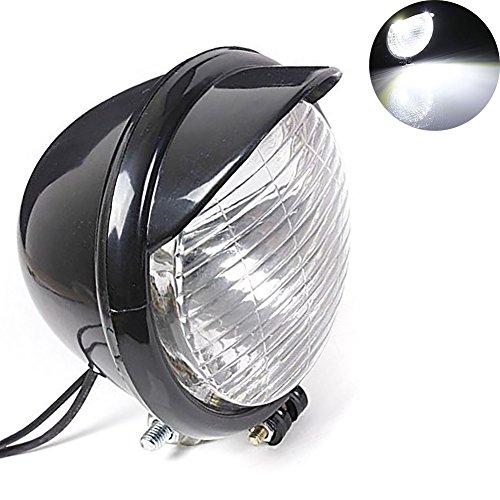TUINCYN Motorcycle Headlight Bulb Lamp DC 12V 10W Retro Round Motorbike White Running Light Universal for For Harley Chopper Bobber Custom Pack of 1