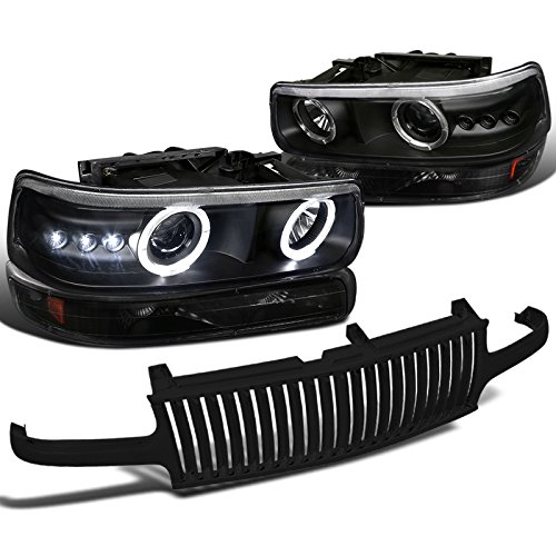 Black Chevy Silverado Halo LED Projector HeadlightBumper LampHood Grille