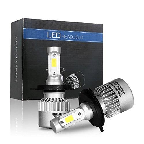 72W 8000lm H4 LED COB Headlight Conversion Kit High Low Beam 3 Sides LED Headlamp 6500K White Bulbs