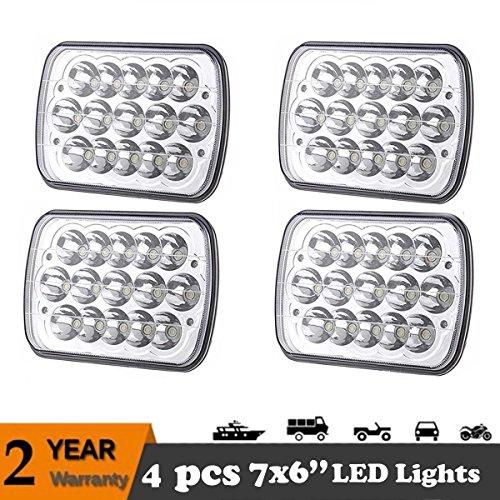 7x6 Inch LED Lights Headlights 4 PCS Kit - HighLow Beam Sealed Spot Light for TrucksOff-roadVanSUVJeep - 7x6 45W Waterproof with 2 Years Guarantee