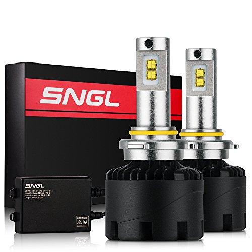 SNGL Super Bright LED Headlight Bulbs - Adjustable-Beam Conversion Kit - 9005  H10  9145  - 110w 11200Lm - 5000K White - 2 Yr Warranty - For Dodge Ram Jeep Chrysler GMC Silverado