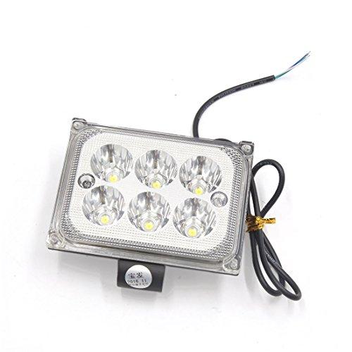uxcell Black Shell Rectangle 8 White LED Light Headlight Spotlight for Motorcycle
