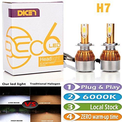 Bright LED Bulbs H7 Headlight HighLow Beam Fog Lamp Daytime Running Lights Conversion Kit 6000K Cool White 7200LM Plug and Play Error Free Headlamp Bulb Pair