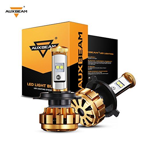 Auxbeam LED headlights F-16 Series H4 9003 HB2 P43T led headlight bulbs with 2 Pcs of Headlight Conversion Kits CREE LED Chips Hi-Lo Beam - 50W 5000lm - 1 Year Warranty