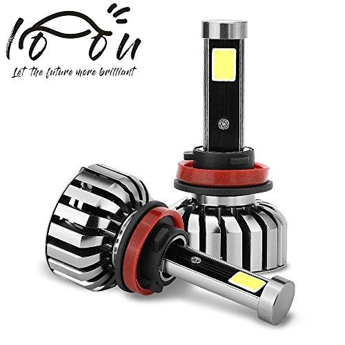 LOOU h11 h8 h9 Led Headlight BulbsSuper Bright Fog Light Bulb Conversion kit 80W 8000LM 6000K Lumensm WATERPROOF High Power COB LED Headlights Slim Headlights Bottom 80 Less Power Consumption