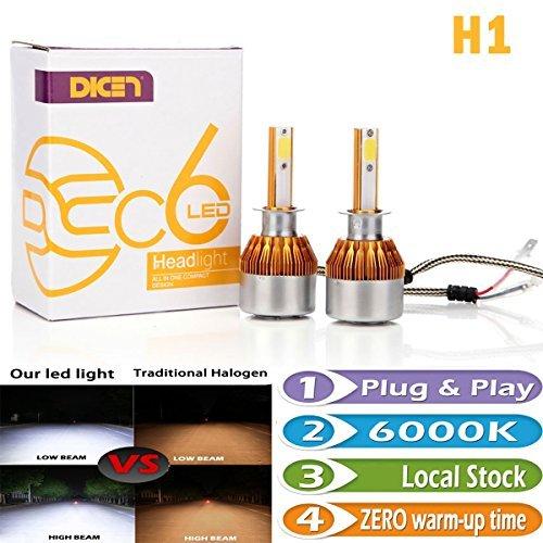 Bright LED Bulbs H1 Headlight HighLow Beam Fog Lamp Daytime Running Lights Conversion Kit 6000K Cool White 7200LM Plug and Play Error Free Headlamp Bulb Pair