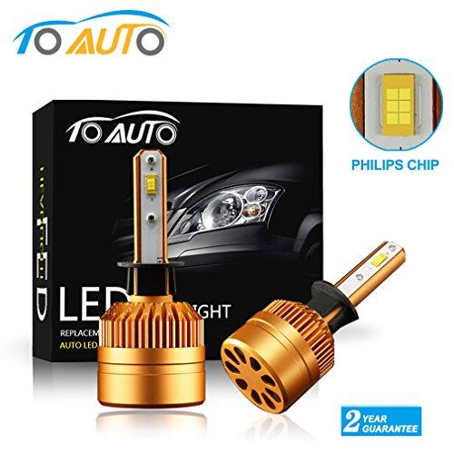ToAUTO H1 led headlight bulbs Conversion Kits 360 Degree super bright Philips Chips 8000LM 6000k white