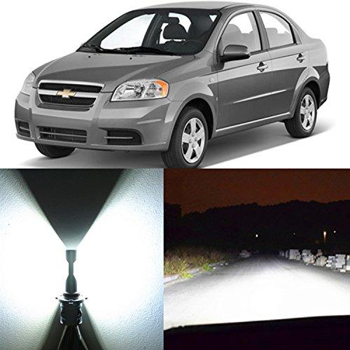 Alla Lighting 2pcs Xtremely Super Bright 6500K H4 9003 H4LL White LED Headlight Bulbs Dual High Low Beam Headlamps Conversion Kits for 2004 2005 2006 2007 2008 2009 2010 2011 Chevrolet Aveo5 Aveo