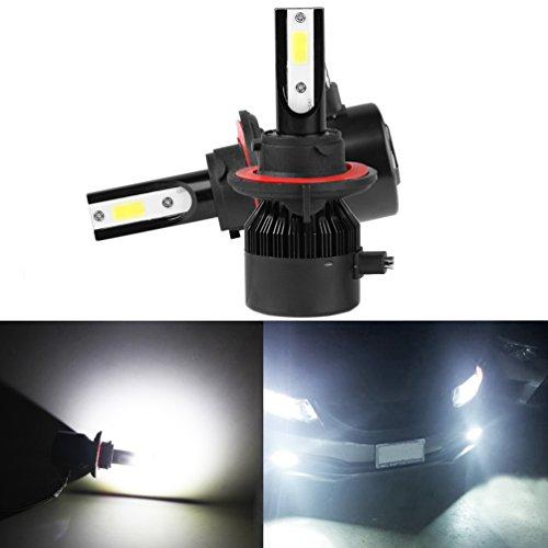 H13 LED Headlight Bulbs ROCCS PAIR 9008 COB LED Headlights Bulbs Replacement Conversion Kit 60W COB Chip Bulbs HighLow Beam Driving lamp Pair white Light H13