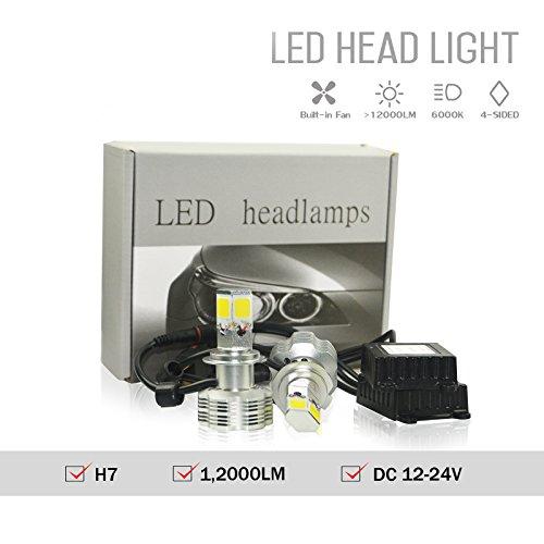 NJYTouch H7 110W 12000LmPair 6000K White LED Headlight Bulbs 4-Sided COB Head Light Led Headlamp Conversion Kit