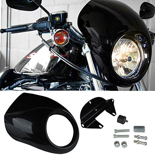 Ridgeyard Front Headlight Cover Fairing Cowl Mask Visor for Harley Sportster Dyna Glide FX XL 39mm Fork