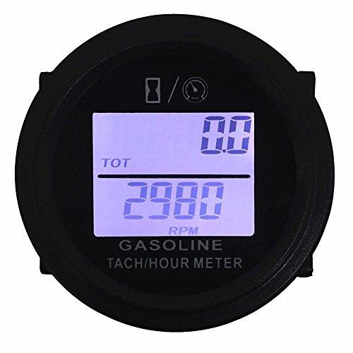 SEARON Digital Backlight Tach Hour Meter Tachometer for Gas Engine 24 Stroke Motorcycle ATV Boat Snowmobile Marine Lawn Mower