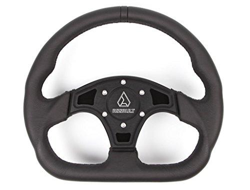 Assault Industries 100005SW0201 BlackBlack Stitch Ballistic D Steering Wheel with Billet Front Plate