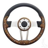 Golf Cart Aviator 2 Steering Wheel - Wood GrainBrushed Aluminum