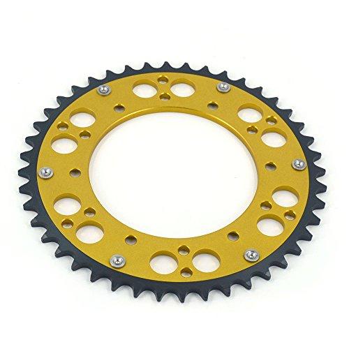 JFG RACING CNC 48T Rear Chain Sprocket - Suzuki RM250 81-83 RMZ250 07-14 DRZ250 01-07 RMX250 89-01 DR350 USA90-99 DRZ400 S 00-13 DRZ400 E 00-07 RMZ450 05-14 KLX400 USA03 - Gold