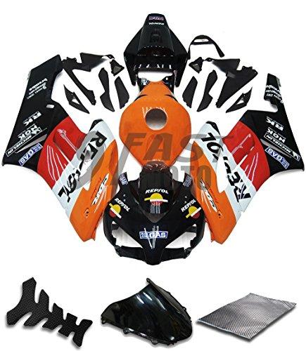 9FastMoto Fairings for honda 2004 2005 CBR1000 RR 04 05 CBR1000RR Motorcycle Fairing Kit ABS Injection Set Sportbike Cowls Panels Orange Black H0487