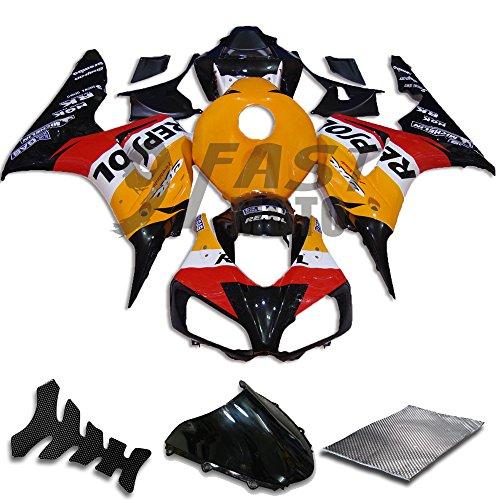 9FastMoto Fairings for honda 2006 2007 CBR1000 RR 06 07 CBR1000 RR Motorcycle Fairing Kit ABS Injection Set Sportbike Cowls Panels Orange Black H0152