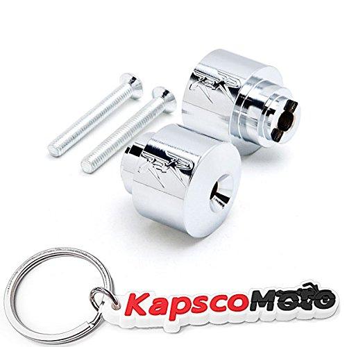 Krator Chrome Engraved Bar Ends Weights Sliders For Honda RR CBR 600 900 929 954 1000 Chrome Bar Ends RR Logo Hand Grip Handlebar Caps  KapscoMoto Keychain