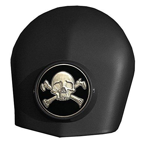 MotorDog69 Crossbones Harley Black Horn Cover Coin Mount Set