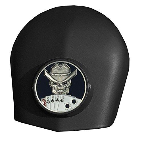 MotorDog69 Dead Mans Hand Harley Black Horn Cover Coin Mount Set