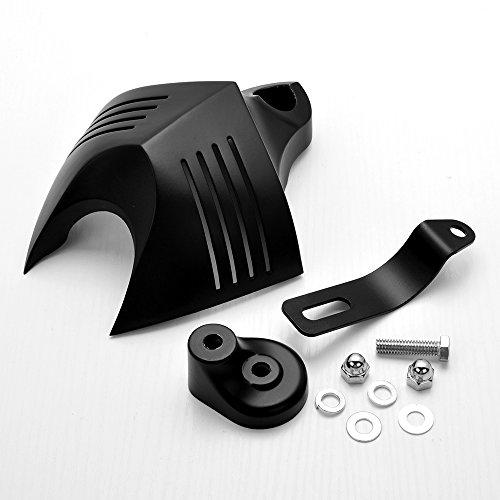Black Aluminum Twin Horn Cover V-Shield Cowbell For Cruiser Chopper Bobber Cafe Racer Motorcycle