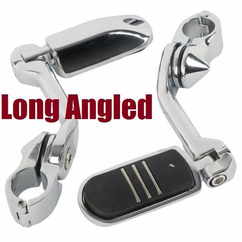 Highway pegs engine guard footpegs streamline harley footrest for Harley Davidson foot pegs32mm 125 Chrome Long Angled