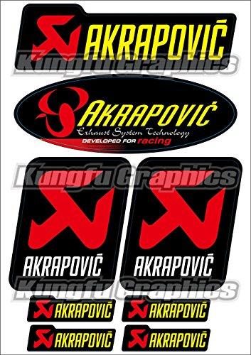 Kungfu Graphics Akrapovic Exhaust Micro Sponsor Logo Racing Sticker Sheet Universal 72x 102 inch Black