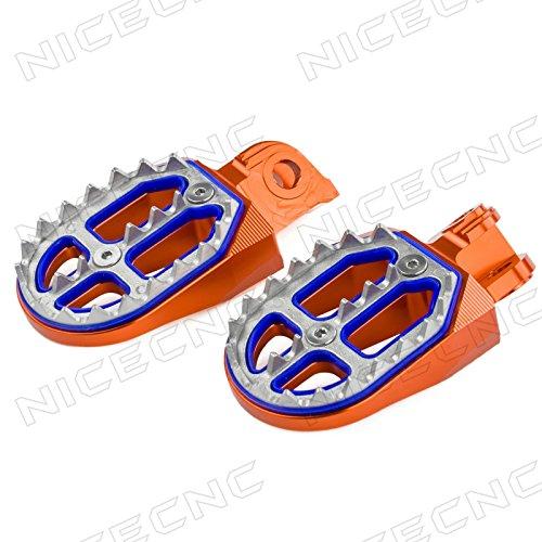 NICECNC Orange Shark Tooth MX Foot Pegs for 65SX 09-18 85SX 03-17 150-300XC250XC-F 200-530XC-WXCF-W 06-16 125SX250-450SX-F250SX 125-530 EXCEXC-F350-450XC-FFREERIDE 250F 2018 250R350