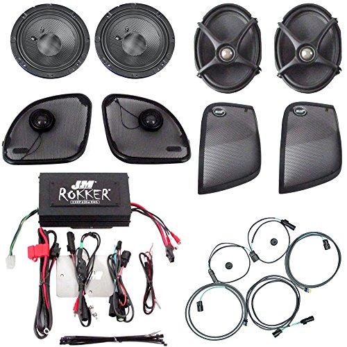 J&M Audio Rokker XXR 4 Speaker and 630 Watt Amplifier Kit for 2015 and Newer Harley-Davidson Road Glide models adding rear saddlebag speaker lids - HC-630XXR-RG15LID